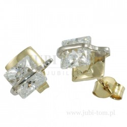 Kolczyki złote z kwadratową cyrkonią sztyft