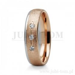 Obrączki z żółte złoto + różowe złoti z kamieniami (cyrkonie lub brylanty)