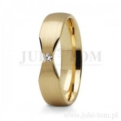 Obrączki żółtego złoto kamieniem (cyrkonia lub brylant)