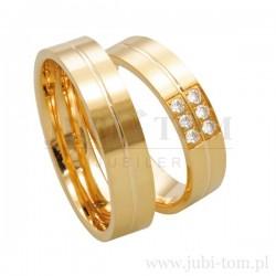 Obrączki  żółte złoto  z kamieniami