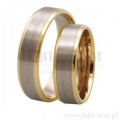 Obrączki żółte złoto + białe złoto z kamieniami