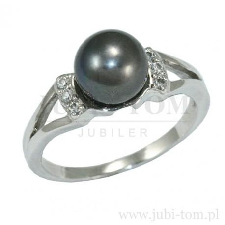 a5dd3c04af Pierścionek z białego złota z czarną perła