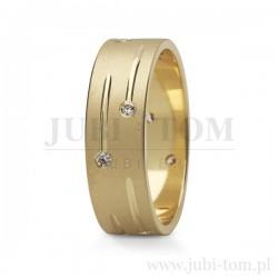 Obrączki z żółtego złota z kamieniami (cyrkonie lub brylanty)