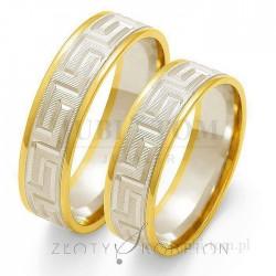 Obrączki z białego i żółtego złota droga grecka  - złoty skorpion