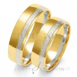 Obrączki z białego i żółtego złota z kamieniem + grawer na zewnątrz - złoty skorpion