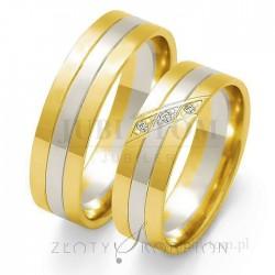 Obrączki z białego i żółtego złota z kamieniami - złoty skorpion