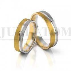 Obraczki białe złoto + żółte złoto z cyrkonią/brylantem