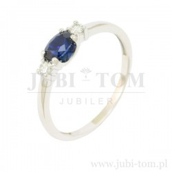 Księżniczkowy pierścionek z szafirem naturalnym i brylantami