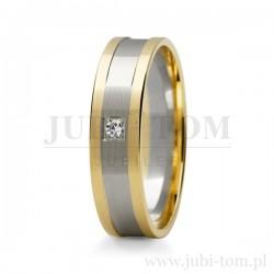 Obraczki ślubne z białego i z żółtego złota z kamieniem