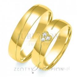 Obrączki z żółtego złota z kamieniami Serca - złoty skorpion