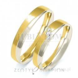 Obrączki z żółtego złota i białego złota z kamieniami - złoty skorpion