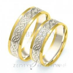 Obrączki z żółtego złota i białego złota z kamieniami i wzorami- złoty skorpion
