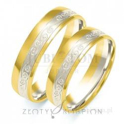Obrączki z żółtego złota i białego złota z wzorem - złoty skorpion