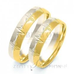 Obrączki z żółtego złota i białego złota EKG - złoty skorpion