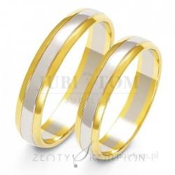 Obrączki z białego i żółtego złota - złoty skorpion