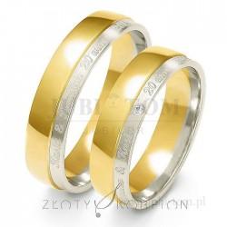 Obrączki z białego i żółtego złota z kamieniem i grawer na zewnatrz- złoty skorpion