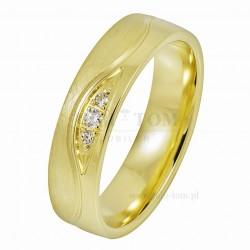 Obrączki z żółtego złota z kamieniami Lazur