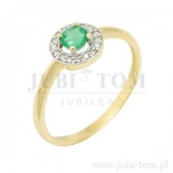 Przepiękny pierścionek z naturalnym szmaragdem i brylantami