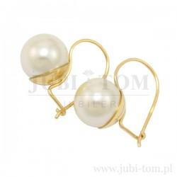 Śliczne złote kolczyki z perłą, bigiel