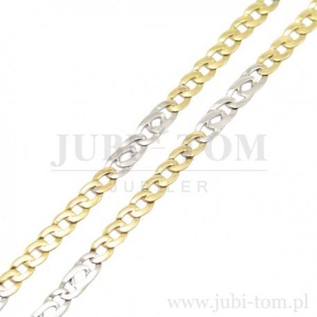 Łańcuszek białe i żółte złoto, inny splot