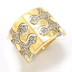 Oryginalny złoty pierścionek z cyrkoniami