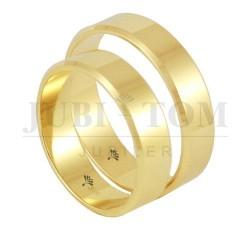 Obraczki płaskie fazowane żółte złoto - usługa wykonania