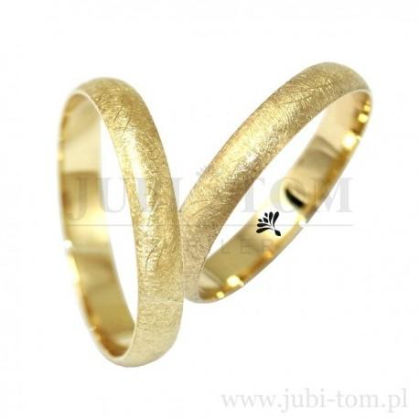 Obraczki klasyczne żółte złoto +mat - 4 mm