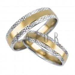 Obrączki dwukolorowe z diamentowanym brzegiem - Lazur