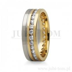 Obraczki ślubne białe złoto + żółte złoto z kamieniami