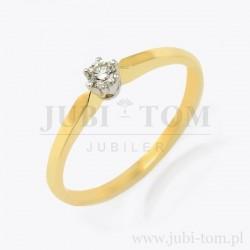 Pierścionek z brylantem 0,09 ct z białego złota