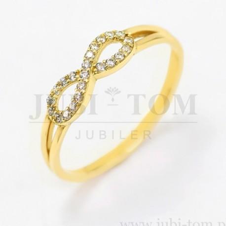 Złoty pierścionek nieskończoność z cyrkoniami p.585