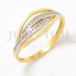 Ładny złoty pierścionek z cyrkoniami p.585