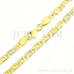 Łańcuszek pełny z żółtego i białego złota z ciekawym splotem p.585