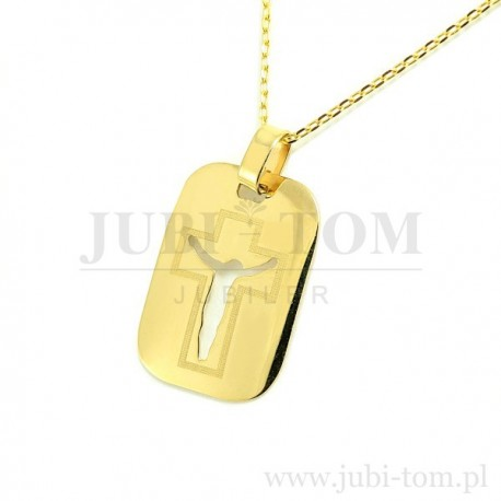 Medalik blaszka z wyciętym krzyżykiem złoty 585
