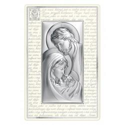 Obrazek posrebrzany Świeta Rodzina w białej ramce
