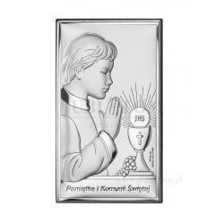 Obrazek posrebrzany I Komunia Święta- chłopiec