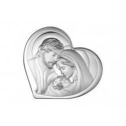 Obrazek srebrny Św. Rodzina w sercu