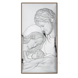 Obrazek srebrny Świeta Rodzina w białej ramce