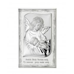 Obrazek srebrny Anioł Stróż z modlitwą