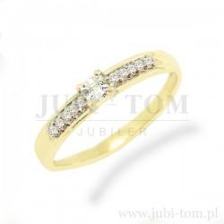 Piękny złoty pierścionek z cyrkoniami Svarowski p.585