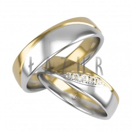 Dwukolorowe obrączki - białe i żółte złoto Łazur p.585