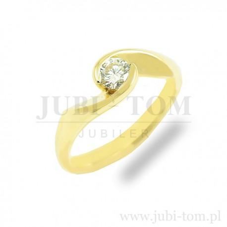 Piękny złoty pierscionek z brylantem 0,23ct SI/G/H p.585