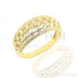Złoty ażurowy pierścionek z cyrkoniami p.585