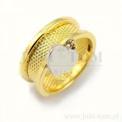 Ciekawy pierścionek a'la obrączka z białym sercem p.585