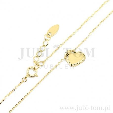 Śliczna złota celebrytka serce z diamentowanym brzegiem p.585