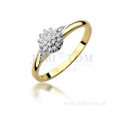 Pierścionek z żółtego złota z brylantami 0,11 ct
