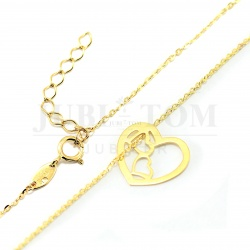 Śliczna złota celebrytka serce oraz dwoma sercami w środku p.585