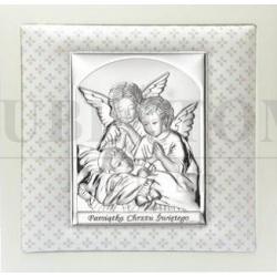 Obrazek srebrny Anioł Stróż z beżową ramką