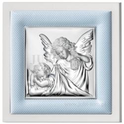Obrazek srebrny Anioł Stróż z niebieską ramką