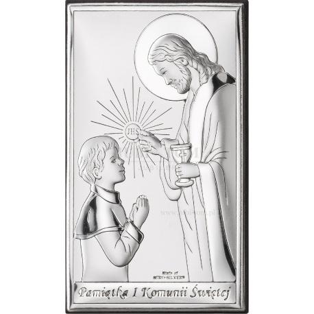 Obrazek srebrny I Komunia Święta- chłopiec